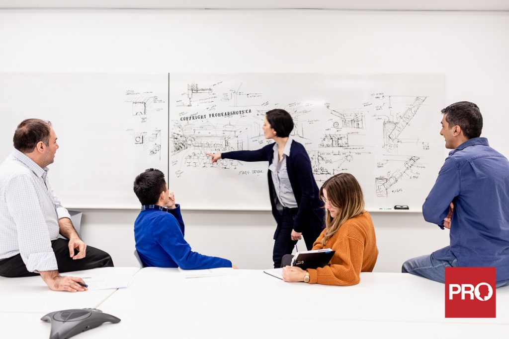 corporate website photos of architects working in a team inside a boardroom